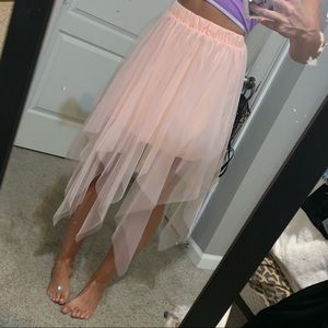 Pink Mesh Skirt